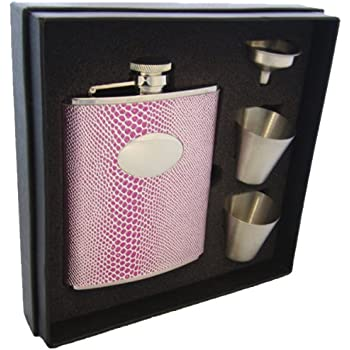 6-Ounce Visol Rosy Boa Snakeskin Leather Stainless Steel Stellar Flask Gift Set Pink