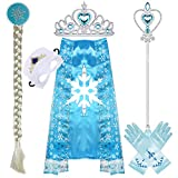 GIRL DRESS UP CLOTHES INCLUDES - A pair of gloves,tiara/crown,wig,wand,cloak,mask.100% quality soft satin polyester made the princess gloves PREMIUN QUALITY - The princess cosplay set are made of environmental ABS materials, which are environmentally...