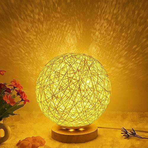 Nachttischlampe Tischlampe Holz, LED Dekorative Nachttischlampe mit Steuertaste Schalten und USB-Ladegerät für Schlafzimmer, Nachttisch, Wohnzimmer, Beistelltisch, Babyzimmer Gold (Creme Farben)