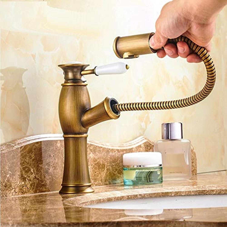 Dwthh Becken Waschbecken Wasserhahn Mischbatterie Messing Badezimmer Antike Bronze Wasserhahn Ziehen Moderne Bad Schwarzes Gold
