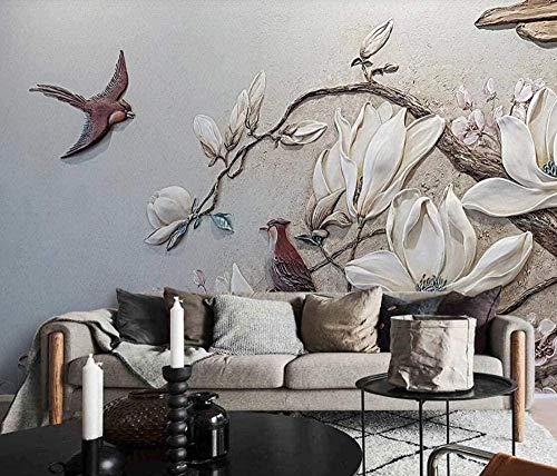 ZJfong Wandbild 3D geprägte Magnolie Vogel Pflaster moderne Wandtapete Wohnzimmer Dekoration Tapete-420x260cm