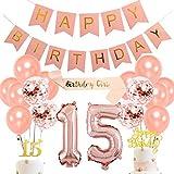 Decoraciones de 15 años Conjunto de Fiesta de Oro Rosa con Globo de Papel número 15 Banner de Feliz cumpleaños Oro Rosa 15 Topper de la Torta