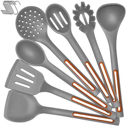 Silicone Cooking Spoon Kitchen Utensil Set - IELECMG Cooking Utensils Dishwasher Safe 500℉ Heat Resistant Large Spatulas Turner Spoons Soup Ladle Skimmer Kitchen Tools for Nonstick Cookware (Grey)