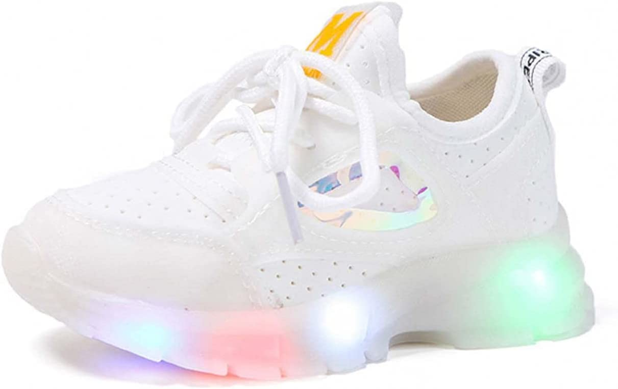 Kids Mesh Light Reflection Sneaker LED Luminous Boy Girl Sneakers Children LED Light Sport Shoes Reflective Carnival Fashion Party Shoes Casual Colorful Running Walking Shoes 15 Months-7 Years