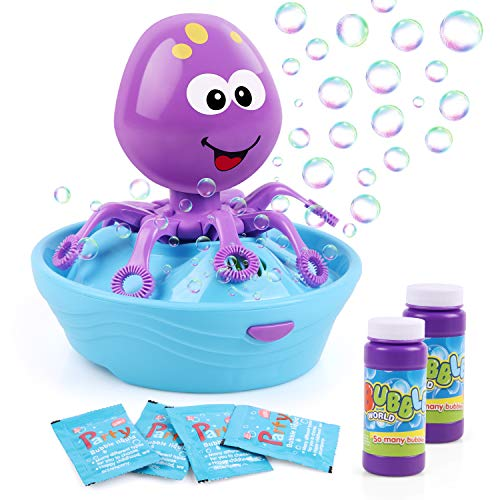Duckura Toys for Toddler Boy Girls, Octopus Bubble Maker Blower Machine for Kids Outdoor Outside Play, First Birthday Toy Gifts for Kids 1 2 3+ Years Old