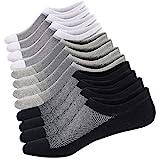 Ueither Calcetines Cortos Hombre Invisibles Respirable Calcetines tobilleros Algodón Antideslizantes (Tamaño: 38-44, Negro/Blanco/Gris (2 Pares Cada))