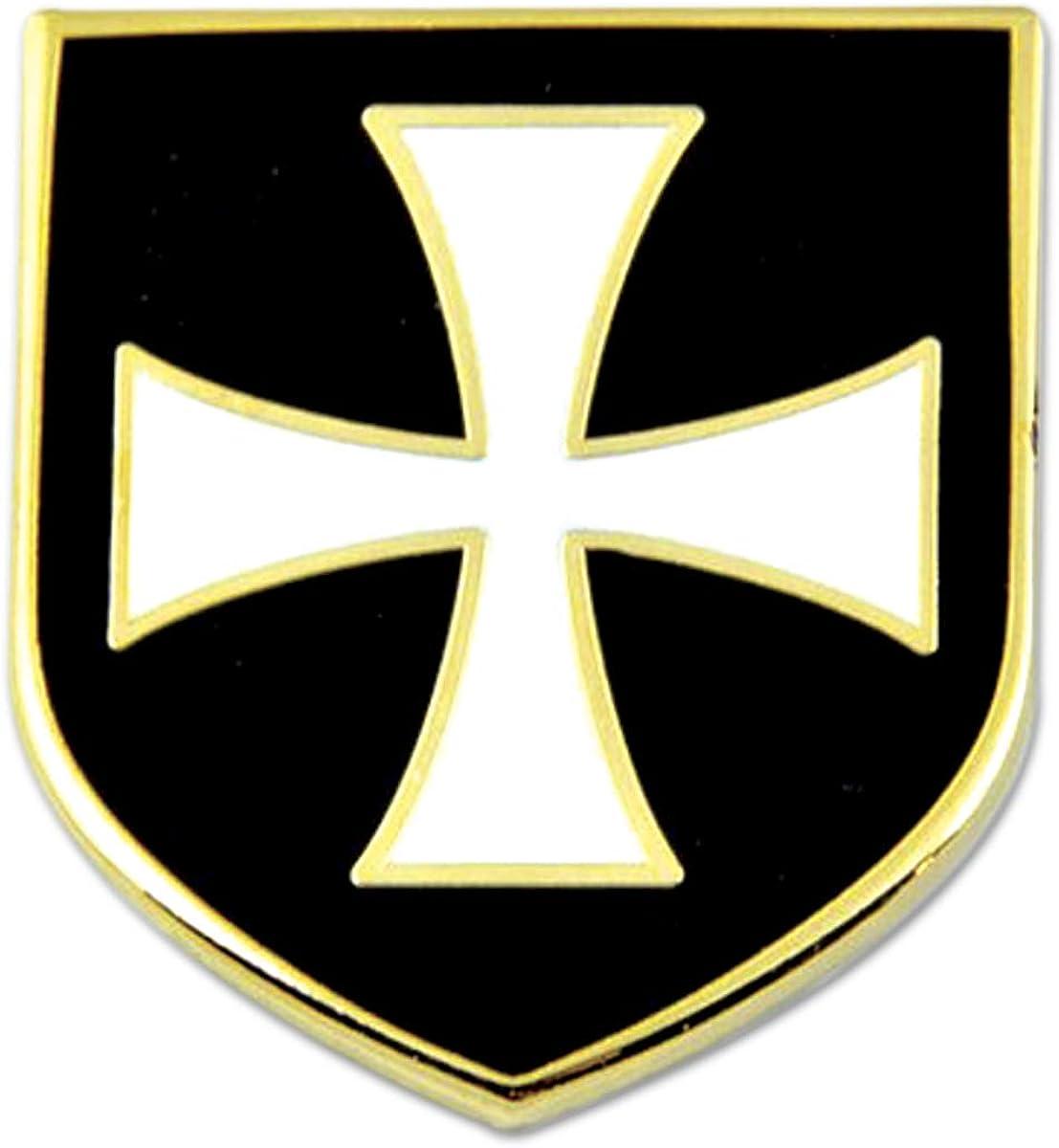 Knights Templar Crusader White Cross Black Shield Masonic Lapel Pin - [Black & White][1'' Tall]