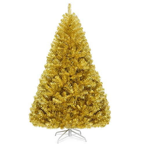 Goplus 6FT Artificial Christmas Tree, 1036 Branch Tips, Christmas Tree with Premium PVC Needles and Metal Stand, Xmas Full Tree for Indoor and Outdoor Holiday Decoration, Champagne Gold