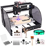 2-in-1 5500 m W 3018 Pro-M CNC Router Kit Engraving Machine, GRBL 3 Axis Engraver Wood Plastic Acrylic PCB MDF Carving Milling with Offline Controller, CNC Router Bits, ER11 Collects