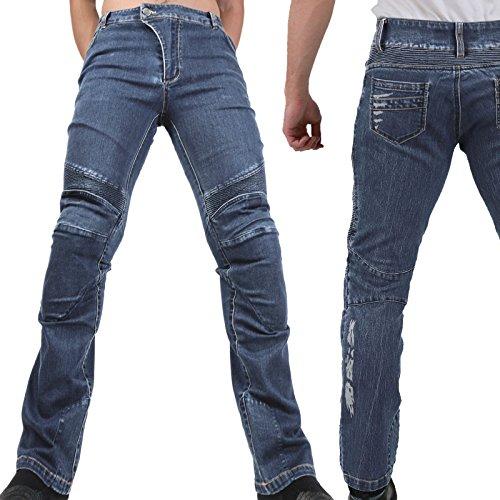 Motorradhose Jeans -Ranger- Leicht Dünn Herren Sommer Textil Jeanshose Slim Fit Motorrad Textilhose Männer Eng Stretch - schwarz - 3XL / XXXL