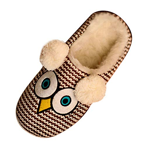 Geweo Slippers Women Owl Anti-Skid Plush Superfit Warm Shoes Men Winter Heatable Cozy Funny for Indoor Outdoor Size 4 5 Brown
