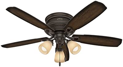 """HUNTER 53356 Ambrose Indoor Low Profile Ceiling Fan with LED Light and Pull Chain Control, 52"""", Onyx Bengal"""
