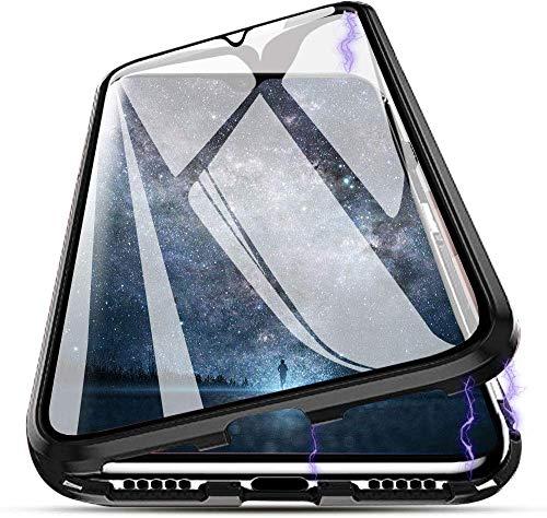 Mkej Funda de Adsorción Magnética para Huawei P40 Lite 4G, Frente protección Pantalla + Trasera de Vidrio Templado Cubierta, Pantalla Completa Diseño de una Pieza Cubierta Metal Parachoque [Negro]