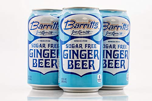 Barritt's Sugar Free Diet Ginger Beer, Non-Alcoholic Soda Cocktail Mixer, 12 fl oz Cans, 24 Pack