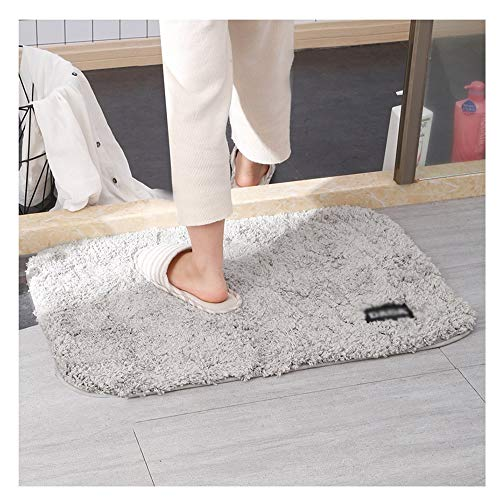GHHZZQ Bathtub Mat Thickness and Durable Absorb Water Non-Slip Foot Pad Household Bathroom Rugs, 3 cm Thick, 60x90cm (Color : Gray, Size : 60x90cm)