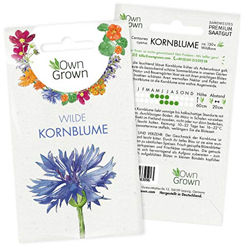 Blaue Kornblumen Samen: Premium Blaue Kornblume Samen für ca. 150x blühende Wilde Kornblumen Pflanze – Schöne Garten Blumen Saatgut, Blumenwiese Samen – Flower Seeds – Wildblumen Saatgut von OwnGrown
