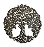 iron art - Tree of Life Metal Wall Art, Contemporary Iron Artwork Decor, Celtic Family Trees, 23 In. x 23 In. Round Modern Plaque, Handmade in Haiti,Fair Trade Certified, Signed By Wilson Etienne