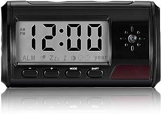 OMOUP 隠しカメラ 置き時計型 2020更新版 小型カメラ 動作検知 リモコン操作 アラーム 違和感なし 長時間使用 写真撮り 録音 スパイカメラ 防犯カメラ