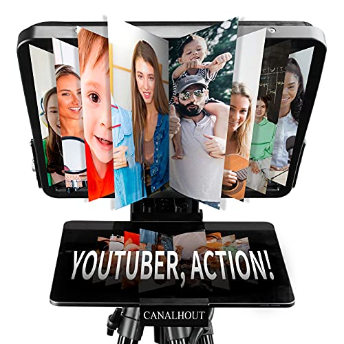 CANALHOUT 16 Inch Universal Adjustable Teleprompter, Suitable All Tablets, Shoot with Video Camera/DSLR, No Assembly Required, 70/30 Beam Splitting Glass, Waterproof Tote, Interview, Speech