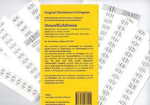 Griffregister für STEUERRICHTLINIEN (2012), original Dürckheim Griffregister, 204 , ca 1 x 1 cm große, bedruckte Griffregister *** Die Auflage 2015 ist lieferbar unter ISBN 9783864530555 *** ***