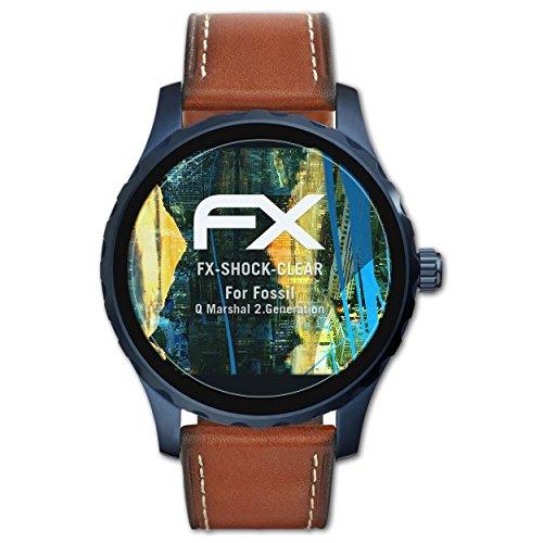 atFoliX Schutzfolie kompatibel mit Fossil Q Marshal 2.Generation Panzerfolie, ultraklare & stoßdämpfende FX Folie (3X)