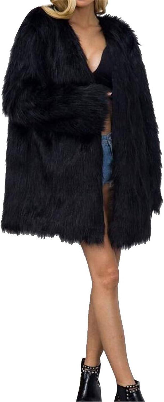 MOUTEN Women's Winter Warm Fluffy Pure color Plus Size Faux Fur Coat Cardigan Outerwear