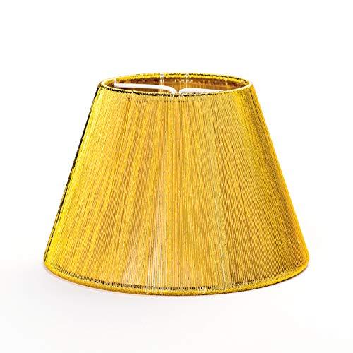 Fuloon Abat-jour en tissu Diamètre : 140 mm Bordeaux/rouge/doré/argenté/chromé Bordure dorée or