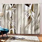 3D Printed Blackout Curtainsdigital Printing Design Distinctive Vertical Curtains, Lily Print Simple Stylish Eyelet Curtains Breathable Insulation,For Living Room Bedroom Kid Room Castle Home Decor,W