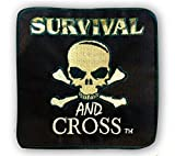 "Iron On Patches - Large Embroidered Custom Patches - Tactical Morale Patch for Military Biker Vest or Gym Bags - 4"" x 4"" - Survival and Cross"