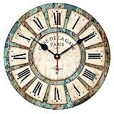 Alicemall Reloj de Pared 30 * 30 cm Decorativo Vintage Reloj Cologado con Mecanismo Silencioso Decoración para Habitación Dormitorio Oficina Bar (Vintage 1)