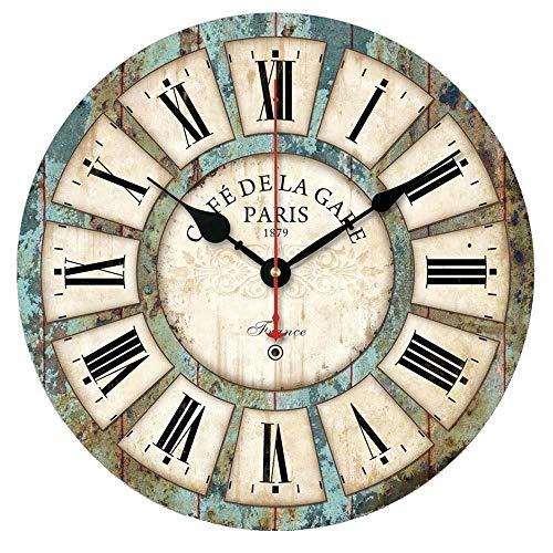 Alicemall Reloj de Pared 30 * 30 cm Decorativo Vintage Reloj