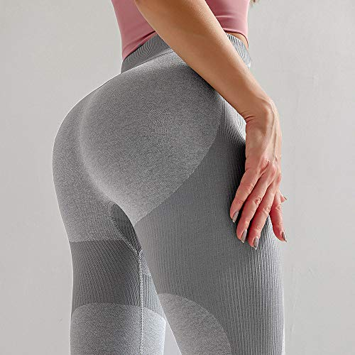 WDDYYBF Yoga Pants for Women,High Waist Fitness Legging Yoga Pants Work Out Breathable Leggins Jogging Pants Seamless Sport Gym Leggings Women Gray Tights Sportswear,S