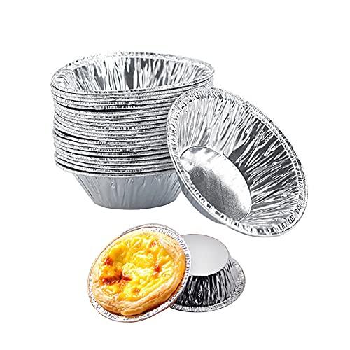 250 moldes desechables para tarta de huevo, bandejas de papel de aluminio, moldes para magdalenas, mini huevos de tarta de papel de aluminio