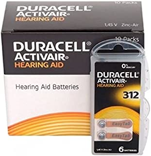 60 x Size 312 / BROWN - DURACELL EasyTab Hearing Aid Batteries (10 packs of six cells)