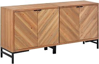 vidaXL Aparador Salón Comedor 4 Puertas + Estantes Madera Maciza Diseño Vintage Retro Rústico Mueble TV Armario Auxiliar S...