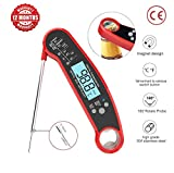 Digital Meat Thermometer Instant Read, Waterproof, Oven Safe, For Grilling, Smoker, BBQ, Baked Goods, Candy Making Or Baby's Milk – With Prop 5 Inch Long – Large LCD Display.