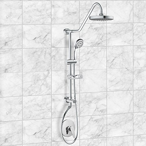 "PULSE ShowerSpas 1011-III-CH Kauai III Shower System, with 8"" Rain Showerhead, 5-Function Hand Shower, Adjustable Slide Bar and Soap Dish, Polished Chrome Finish"