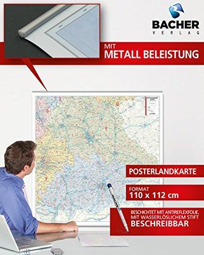 BACHER Postleitzahlenkarte Bayern Maßstab 1:350 000, Papierkarte gerollt, folienbeschichtet und beleistet: Die Postleitzahlenkarte Bayern beinhaltet ... Ortsteile mit der Sterndarstellung.