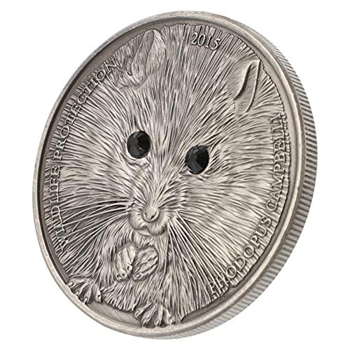STOBOK Metall Minnesmynt Vintage Crystal Inlagt Djurmönster Järn Samlarobjekt Mynt Souvenir För Brädspel Tokens Desktop Spel ( Hamster )