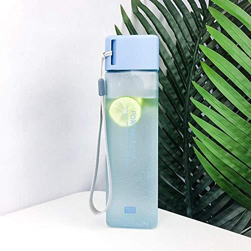 Coffcup Édition coréenne Creative Trend Tasse en Plastique moulé Coupe Tasse d'eau Portable Rouge pour Les étudiants et étudiantes, Bleu Glacier carré Ceinture Ligne de broyage 480 ML Brosse de Coupe