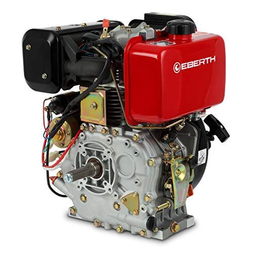 EBERTH 10 CV 7,2 kW Moteur Diesel (E-Start, 25,4 mm Arbre, Alarme manque d'huile, 4 Temps, 1 Cylindre, Refroidissement à air, Démarrage via câble, Batterie)