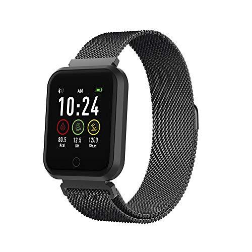 Forever Smartwatch, Fittnestracker mit Bluetooth, Pulsmesser, Schlafanalyse, Activity Monitor, Fitness Tracker Wasserdicht IP65, Watch Kompatibel mit Android, IOS, für Damen, Herren (Schwarz)