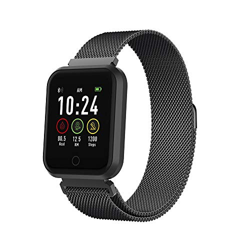 Forever Smartwatch, fitnesstracker met bluetooth, hartslagmeter, slaapanalyse, activity monitor, fitness tracker, waterdicht IP65, compatibel met Android, iOS, voor dames en heren, zwart