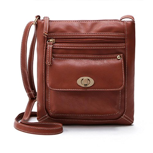FEITONG Donne PU Pelle cartella Attraversare Corpo Spalla Messenger Bag (Marrone)