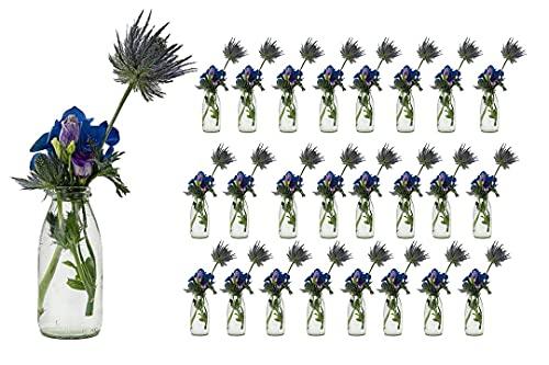 casavetro 24 x Glasfläschchen im Landhausstil Flasche Vase Tischvasen Glasflaschen Dekoflaschen Väschen Vasen Glasvasen (24 x 250 Milch OK )