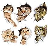 Pegatina Gato, 6PCS Pegatinas de pared 3D Gatos, Pegatinas Pared Gatos Calcomanías Pared 3D Desmontable, para Coche Ventana Inodoro Cuarto de Baño Dormitorio Guardería Cocina Decoración de Pared