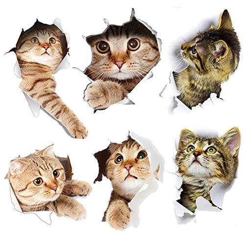 3D Katzen Wandsticker, 6PCS Kombination Süß Katze Wand Aufkleber, Katzen Wandtattoo Selbstklebend Abnehmbare Wandtattoo, Badezimmer Wandsticker Kühlschrank DIY Sticker (3D Katze)