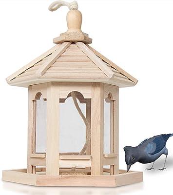 Xerhnan Wooden Bird Feeder, Hexagon Shaped with Roof Wooden Bird Feeder Hanging for Garden Yard Decoration