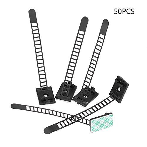 Clips ajustables: 50 clips autoadhesivos ajustables sujetan el organizador de abrazaderas de amarre de cables de coche(Negro)