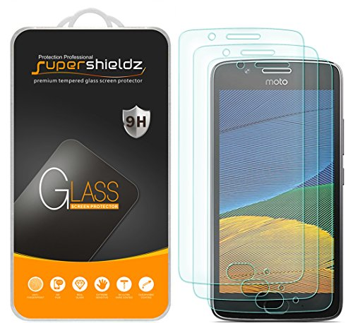 (3 Pack) Supershieldz for Motorola (Moto G5) Tempered Glass Screen Protector, Anti Scratch, Bubble Free